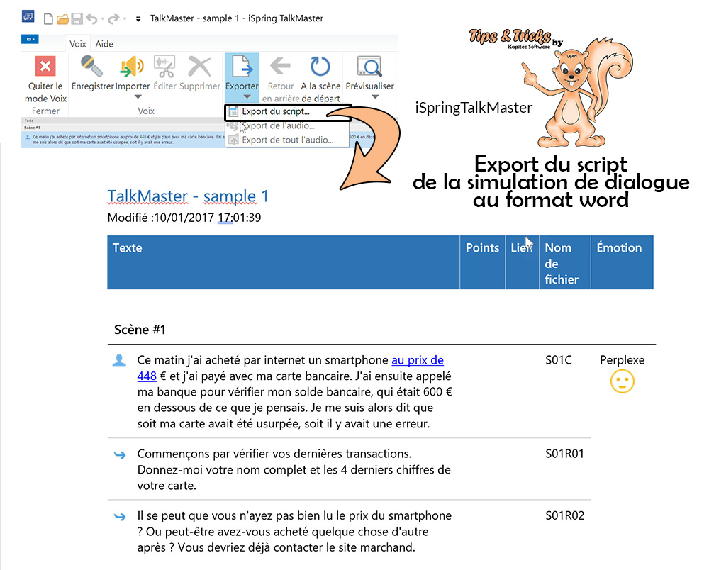 export du script d'une simulation de dialogue iSpring TalkMaster